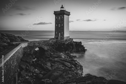 Monochrome shot of historic Kermorvan lighthouse in Finistere, Brittany, France