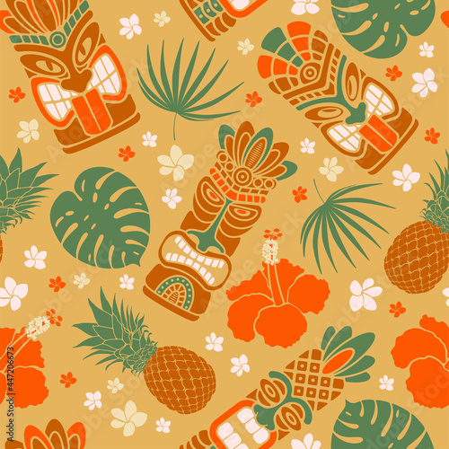 Tropical summer on paradise beach. Seamless pattern with Tiki mask, monstera leaves, pineapple, hibiscus. For wallpapers, web page backgrounds, surface textures, fabrics. Vector illustration.
