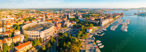 Aerial drone photo of famous european city of Pula and arena of roman time.