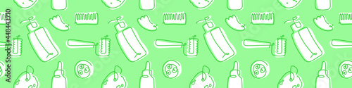Cosmetics seamless pattern. Self care and body care linear icons. Vector cosmetic ornament. Fabric background. Outline illustration of sponge, cream, makeup, scrub, soap, bottle. Green wallpaper.