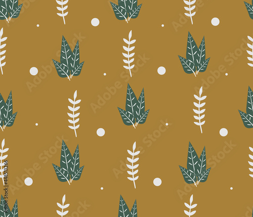 Wallpaper with green and white leaves on a yellow background. Vector illustration.
