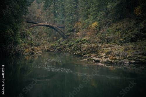 Moulton Falls Bridge reflections on an autumn morning, Washington State, Pacific Northwest