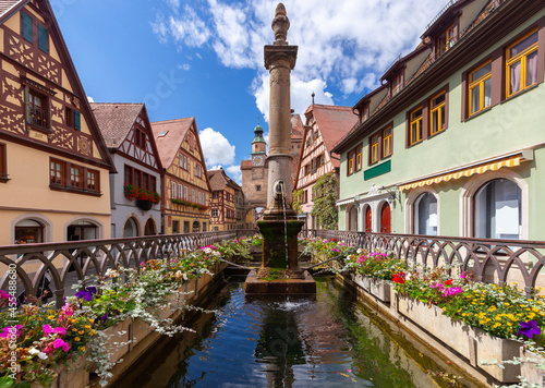 Rothenburg ob der Tauber. The old famous medieval town on a sunny day.
