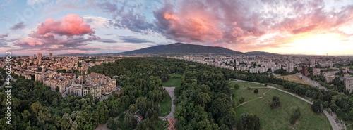 Evening sunset over Sofia city, Bulgaria