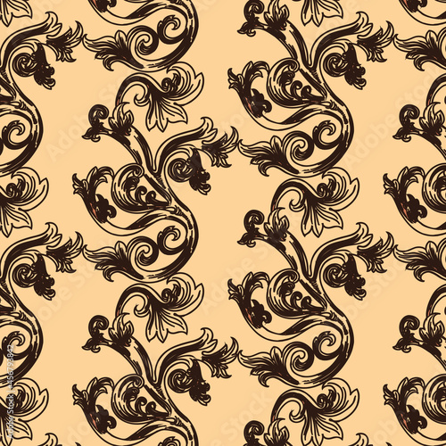 vector illustration, seamless pattern, brown floral circular ornament on a beige background, ethnic motives, stylized pattern for wallpaper and textiles
