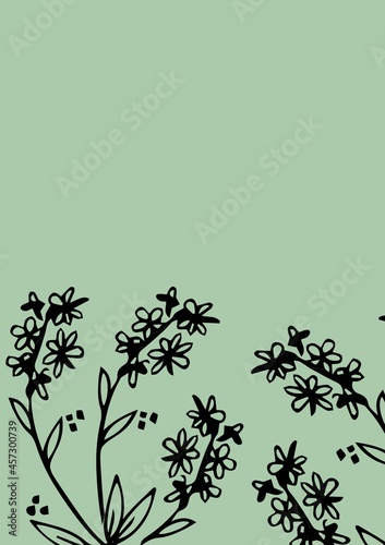 Digitally generated image of floral design with copy space on green background