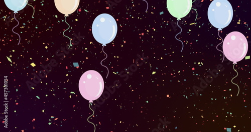 Image of multiple colourful balloons flying over colourful confetti falling