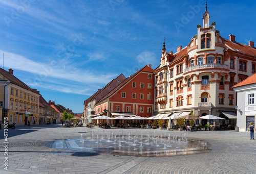 Famous main square Glavni trg of Maribor the second largest city in Slovenia with a fountain