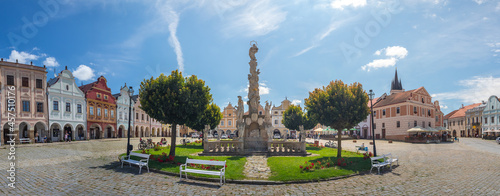 Telc main square - Zacharias of Hradec Square with the Marian Plague Column in Telc, Czech republic