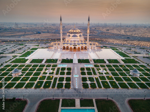The Sharjah Mosque in the Emirate of Sharjah, the United Arab Emirates aerial view