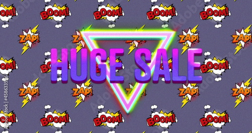 Huge sale text over boom and zap text on speech bubble against purple background
