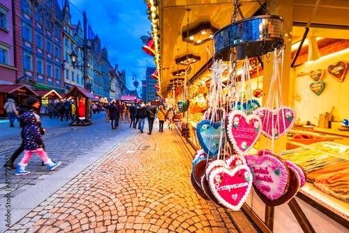 Wroclaw, Poland - Christmas Market, medieval polish square.