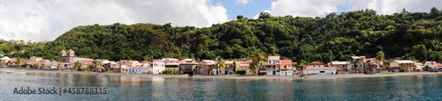 Panoramic view of the caribbean village Saint Pierre , Martinique island.
