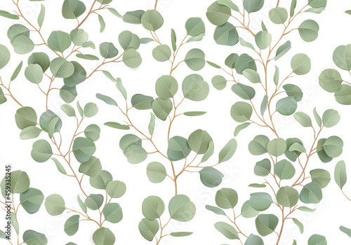 Eucalyptus floral watercolor seamless pattern. Vector illustration tropical greenery branches background