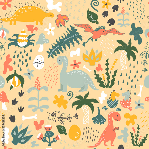 Dino pattern. Vector beige background. Seamless pattern with dinosaurs, prehistoric plants, spots, traces, raindrops and eggs. Baby print