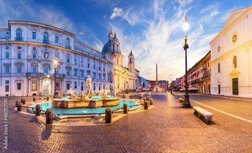 Piazza Navona with the Moor Fountain and Basilica at sunset, Rome, Italy