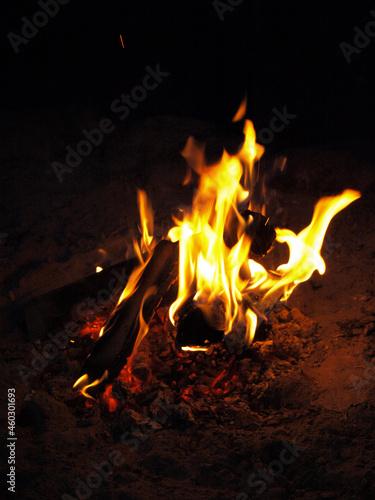 Ognisko ogień płomienie palące się drewno