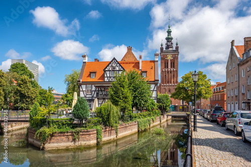 Raduni canal and hanseatic-style Miller's House in the Old Town in Gdansk.
