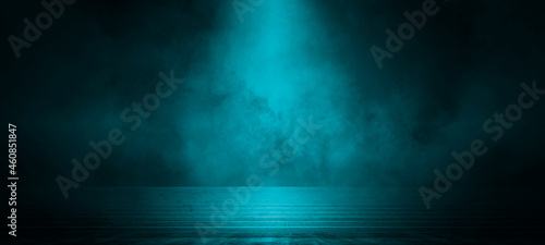 Empty dark scene blue abstract stage, stairs, concrete, neon light, spotlights, and studio room with smoke float up the interior texture for display products wall background.