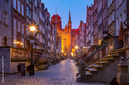 Empty night street Mariacka, St Mary, street in Gdansk Old Town, Poland