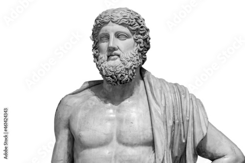 Marble statue of greek god Zeus isolated on white background