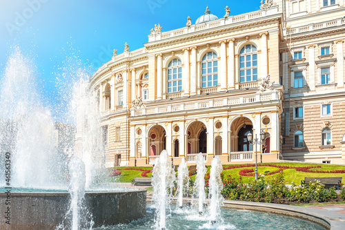 Fountains in front of the Odessa Opera and Ballet Theater, Ukraine.
