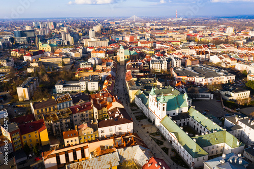 Aerial view of historical part of Rzeszow town at day, Poland