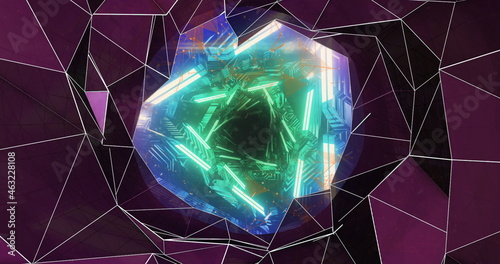 Kaleidoscope shapes moving against glowing tunnel