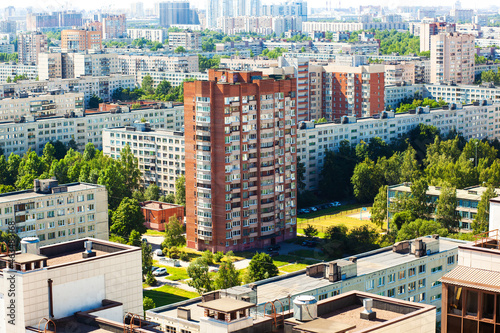 Saint Petersburg, quiet, residential area. View from the roof. Russia