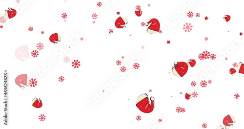 Multiple Santa hats and red snowflakes falling against white background