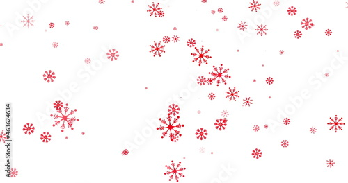 Red snowflakes falling against white background